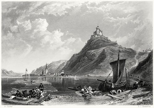 Castle of Marksburg.  Myles Birket Foster, from The Rhine and its picturesque scenery, by Henry Mayhew, London, 1856.  (Source: archive.org)