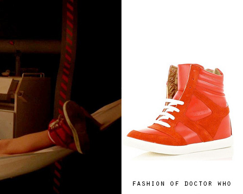 Clara Oswald - Asylum of the Daleks River Island Red Hi-Top Hidden Heel Sneakers - no longer available Worn With: American Apparel Stripe-Calf High Sock
