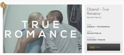 "citizensdaily:  ""True romance"" won Best Music Video @ Fubiz Awards. Congrats to Citizens! and We are from LA and thanks to everyone who voted!  congrats :)"