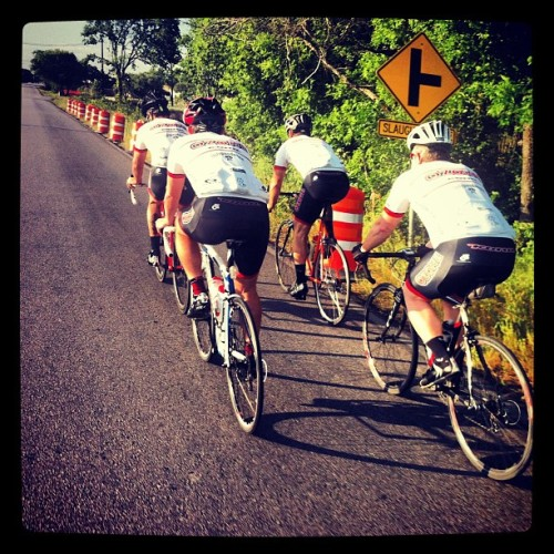 Beautiful morning for a 70+mile ride with Team Ozone!! (at Slaughter Ln., Austin, Tx)