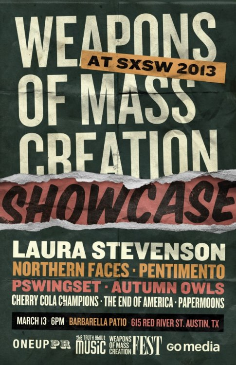 cherrycolachampions:  Weapons of Mass Creation Showcase @ SXSW RSVP on Eventbrite here: http://wmcshowcasesxsw.eventbrite.com/