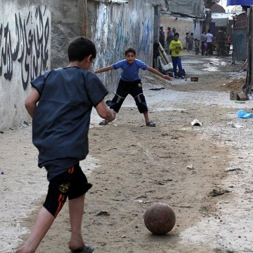 There is life. There is youth. There is resistance. There is #football. In the streets of #Gaza. #futbol  (pic via @footynions)