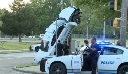 beatyourselfup:  Memphis Cop Car Ends Up Against Pole, Other Cops at the Scene Ticket Drivers for Going Too Slow A Memphis police officer was driving too fast as he tried to chase down a driver for not wearing a seatbelt, so his car ended up upright against a telephone pole, prompting other motorists to slow down and take photos of  the incident. That, of course, prompted other officers to ticket those drivers for driving too slow, according to WREG. No word yet as to whether the first officer will be ticketed for reckless driving.
