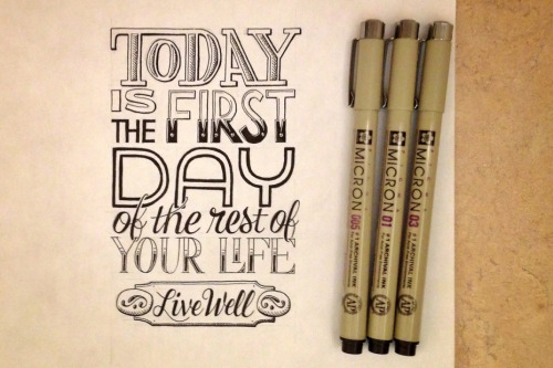 Sean McCabe's Hand-Lettered Quotes  San Antonio, Texas-based designer Sean McCabe is passionate about hand lettering and typography, loves meticulous detail and expresses an attentive eye for precision, balance and composition in his work. He uses subtle intricacies to produce smart cohesive messages, and has developed his own complete fonts and lettering projects. His custom messages are deeply personal, often wise or witty, and lovingly penned–which is much more than many DI artists can claim. Check out his website here.