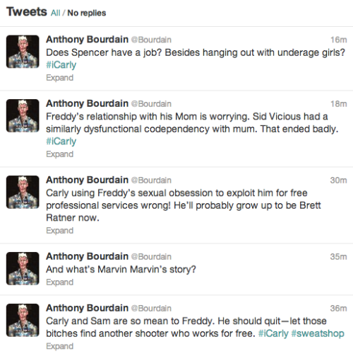 HAHAHA ryanhatesthis:  Anthony Bourdain live-tweeting iCarly is the greatest thing in the whole world.