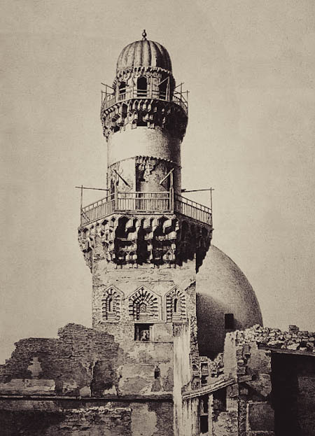 mediterraneum:  Baybarsiya mosque, minaret, 14th century. The mosque, patronized by a former slave of Qalawaun, is the oldest standing khanqa in Cairo. Its minaret once towered over surrounding structures. The complex's waqf document has survived and offers insights into the daily life of 14th-century Sufis.