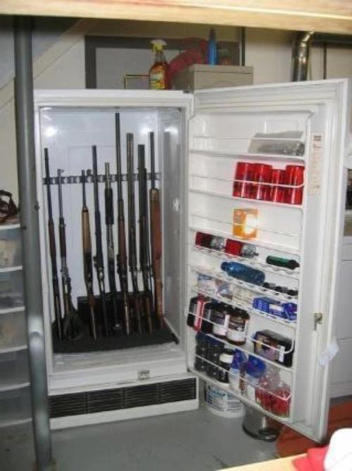 Repurposed freezer into gun safe.