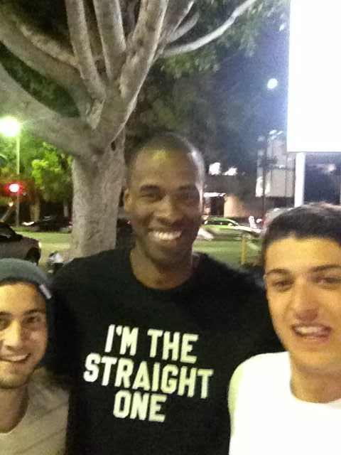 Jarron Collins — Jason's twin brother — wearing the new shirt he got from Jimmy Kimmel.  via Reddit