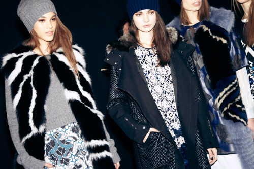 tmagazine:  Beanies, fur vests and pensive expressions at today's BCBG Max Azria show in New York. Click through for more pictures by Columbine Goldsmith.