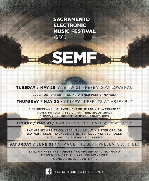 Ru will be playing at the final day for SEMF 2013 with Free The Robots, Computer Jay, Mophono, Bdot, Citizen Ten & more! Location TBA Buy your tickets @: http://c4c.ticketleap.com/semf2013/