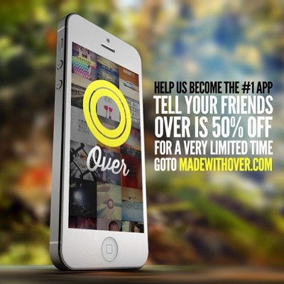 The app Over super cool and is 50% off, more info cheek www.madewithover.com @madewithover