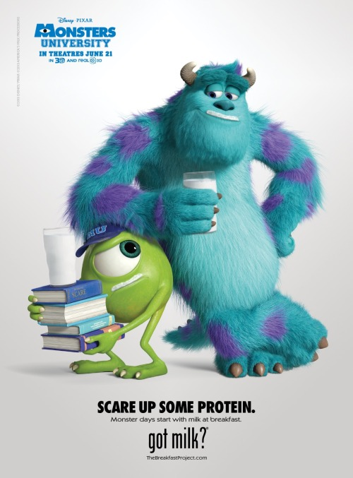 disneypixar:  Mike and Sulley pose in a new Milk Mustache ad.