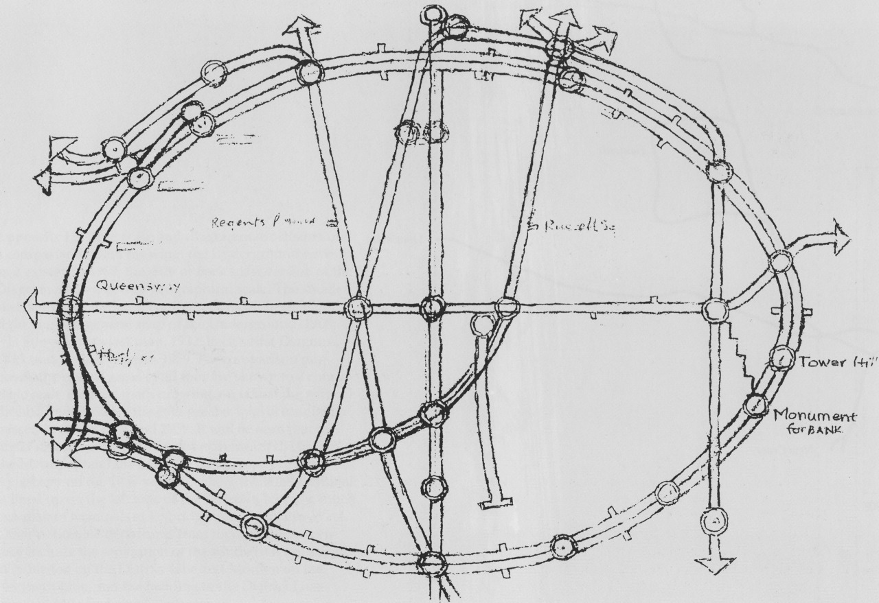 Historical Map: Circular London Underground Map Sketch, Harry Beck, c. 1964 For those who thought that the two circular London Underground diagrams I featured earlier this year — by Jonny Fisher and Maxwell Roberts — were a completely modern twist on an old classic, here's a reminder of just how forward-thinking Harry Beck really was. This is a sketch, dated to 1964 at the earliest (due to his adoption of Paul Garbutt's dot-in-a-circle device for main line interchange stations), that presents the Circle Line as a perfect ellipse. Quite a stunning contrast to his usual rigidly rectilinear diagrams, if perhaps ultimately not a huge improvement — much as the two modern maps are exercises in design, rather than a replacement for the original. Note also that this beautiful sketch is entirely hand-drawn: not a computer to be seen in it's creation. (Source: Scanned from my personal copy of Mr. Beck's Diagram by Ken Garland, Capital Transport Publishing, 1994)