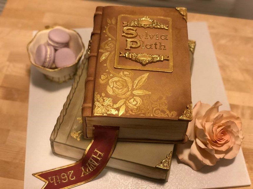 And who would't want to celebrate her birthday with this beautiful  Victorian style leather book inspired Sylvia Plath cake made by the reddit user Atomic_Crumpet!?  ❤   Image source: https://www.reddit.com/ #sylvia plath#cake #sylvia plath cake  #victorian style leather book cake #book cake#cake art#sylviaplath