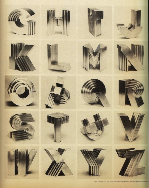 "papress:  Aluminum Alphabet Sculptures (1983) by the artist Takenobu Igarashi: ""I started making alphabet sculptures in the 1980s using various materials. The aluminum series, however, is the only one that is complete with 26 alphabets from A to Z."""