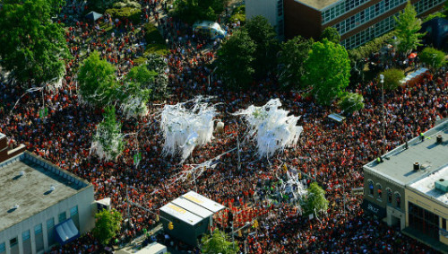 Poisoned Toomer's Corner oaks cut down after final celebration Auburn University football fans celebrated under the trees one last time this weekend.