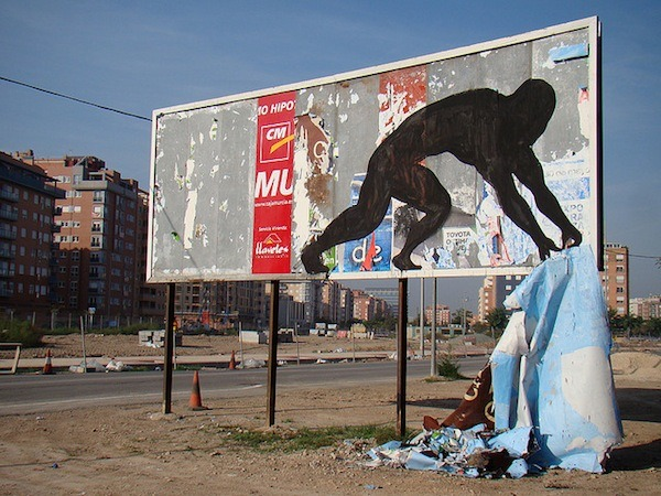 escapekit:  The work of Sam3  Madrid-based street artist Sam3 specializes in large-scale, monochromatic murals that create clever and whimsical illusions.