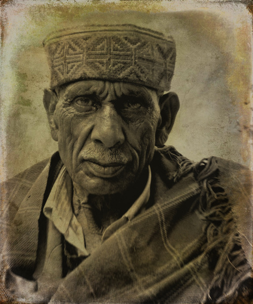 People of the Hills XXIV: Old man in Bhoolang village. Indian Himalayas. Rendered in the style of a Daguerreotype.