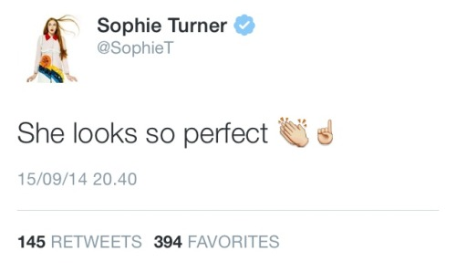 """poussey:   mockingjay trailer came out today huh  #and then actress sophie turner proceed to favourite a tweet that said """" i know you're talking about nat dormer"""""""