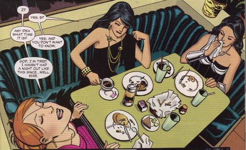 My favorite kind of comics moment - girls' night out, hanging out. And, you know…this art!