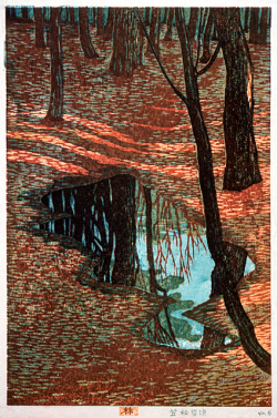 thewoodbetween:  In the Woods ~ Kasamatsu Shiro 1955 woodcut