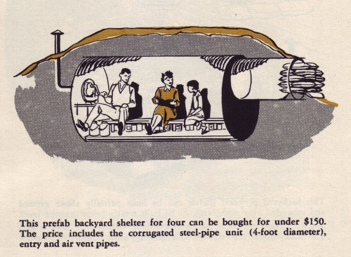 """devilduck:OCD Approved Fall Out Shelters Family Radiation Survival Sets and the Lafayette """"Mighty"""" 9-Transistor Portable Radio (Instruction manual included), c. 1961."""