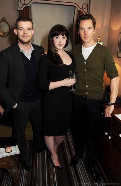 Russell Tovey, Alexandra Roach and Benedict Cumberbatch attend the Esquire and Tommy Hilfiger party celebrating London Collections: MEN AW13, hosted by Esquire editor Alex Bilmes and Tommy Hilfiger, at the Zetter Townhouse on January 7, 2013 in London
