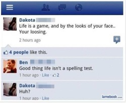 These 15 FB status fails are hilarious. Can't stop laughing. You have to see #4. - ad http://bit.ly/WlUYz5