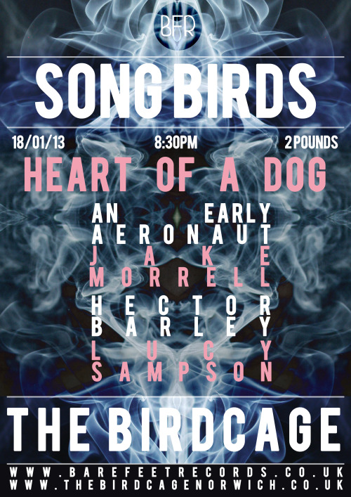 abearfeat:  First show of 2013! Venue: The Birdcage Price: £2 Date: 8:00pm 18/01/13 Featuring: Heart of a Dog, An Early Aeronaut, Lucy Sampson, Hector Barley, Jake Morrell. Facebook Event: Here Website: Here