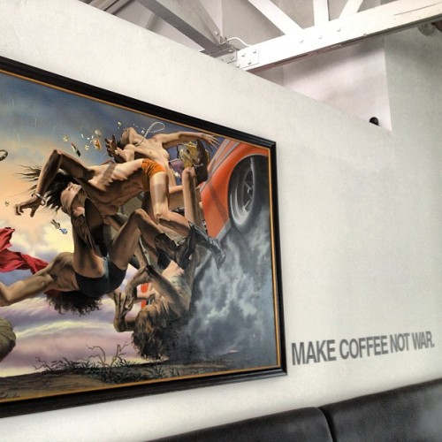 "randyjtarlow:  ""Make Coffee Not War."" Couldn't agree more. #thegraff #graffiti #coffee #art #losangeles (at Graffiti)"