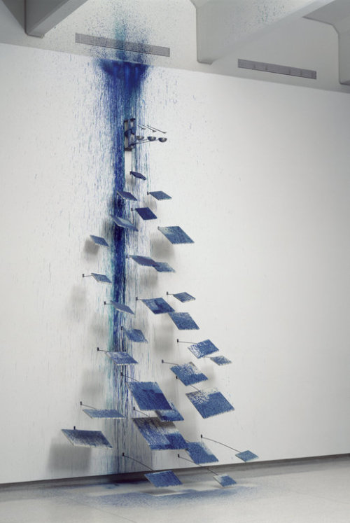the little painting school performs a waterfall, rebecca horn, 1988