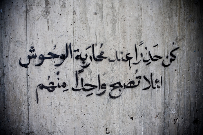 "fattysaid:  Grafitti in Mohamed Mahmoud Street, Cairo, Egypt that reads: ""Beware when fighting monsters, lest you become one of them"" Photo: 3arabawy"