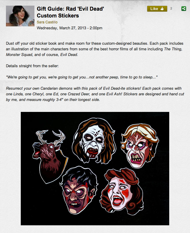 My Evil Dead stickers have been featured on FEARnet, thank you Sara!If you'd like to get a pack they are currently available in my shop.