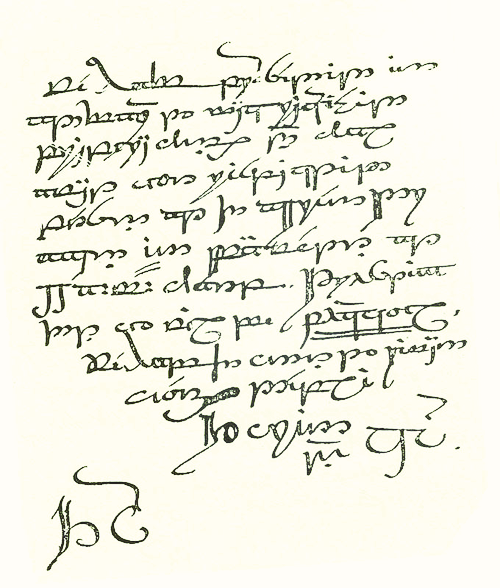 dalpuri:  Thorin's letter to Bilbo/the contract, written in Tengwar by J.R.R. Tolkien [page 2]. Not printed in the original edition of The Hobbit because it was too diffuclt to reproduce.  Thorin and Company to Burglar Bilbo greeting! For your hospitality our sincerest thanks, and for your offer of professional assistance our grateful acceptance. Terms: cash on delivery, up to and not exceeding one fourteenth of total profits (if any); all traveling expenses guaranteed in any event; funeral expenses to be defrayed by us or our representatives, if occasion arises and the matter is not otherwise arranged for. Thinking it unnecessary to disturb your esteemed repose, we have proceeded in advance to make requisite preparations, and shall await your respected person at the Green Dragon Inn, Bywater, at II a.m. sharp.Trusting that you will be punctual.We have the honour to remainYours deeplyThorin & Co.