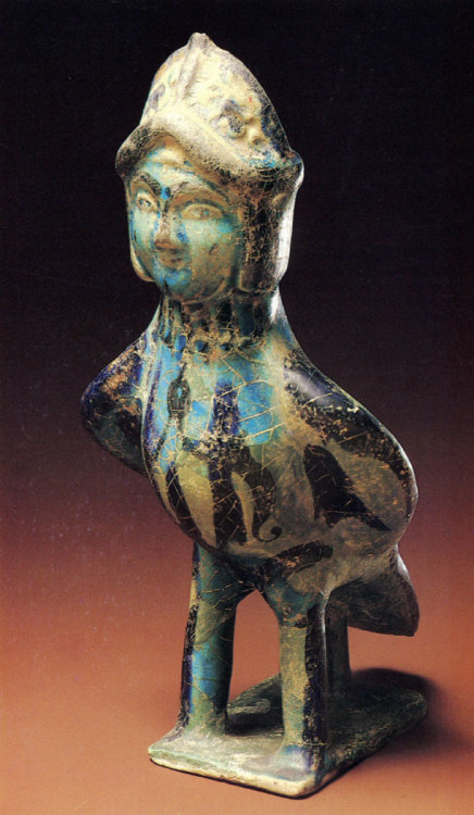 fishstickmonkey:  Vessel shaped as the bird Sirin Iran. 13th century. Faience with underglaze painting. The Museum of Oriental Art, Moscow