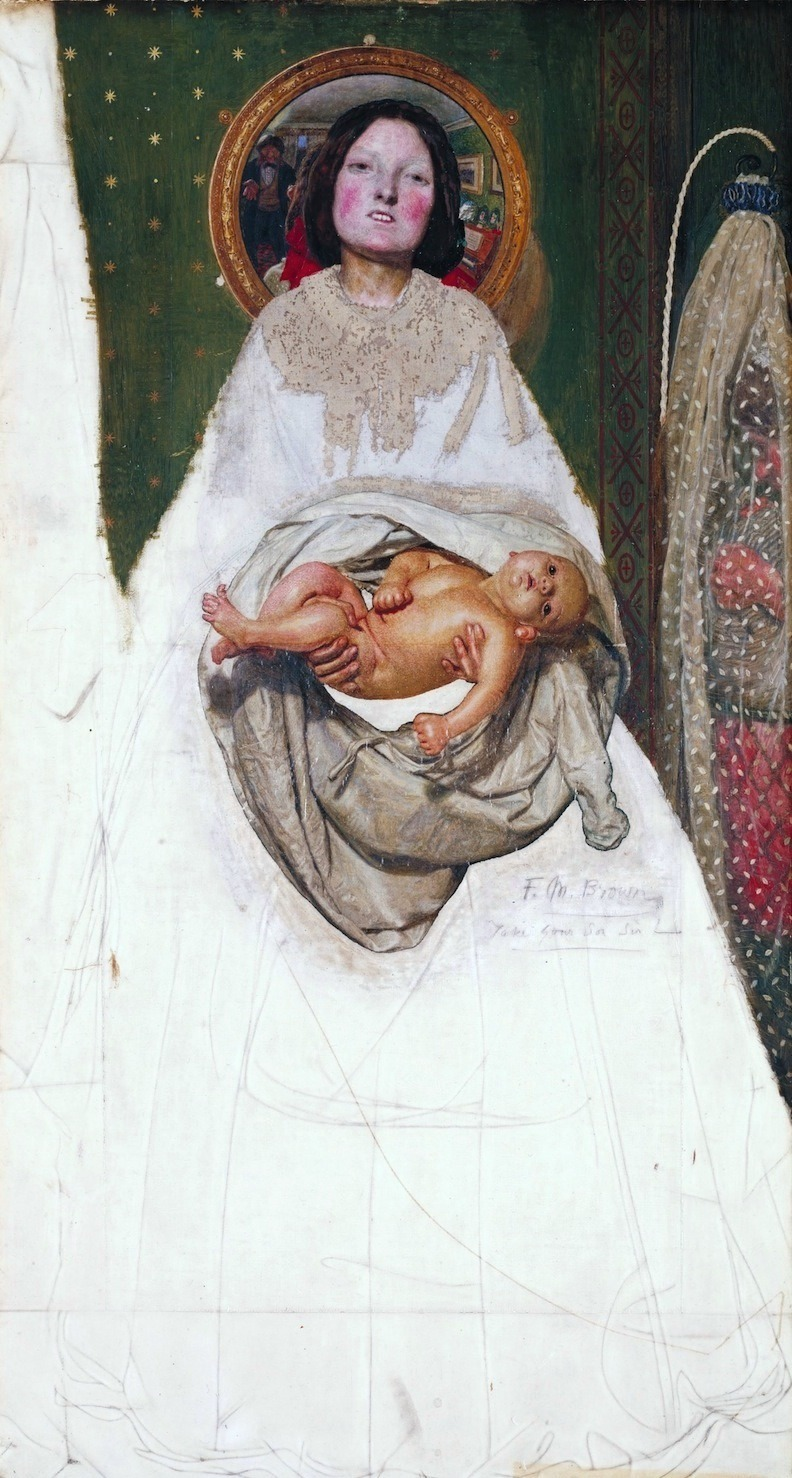 aclockworkorange:  Ford Madox Brown, Take Your Son, Sir!, 1856 Take Your Son, Sir! is an unfinished painting by Ford Madox Brown which depicts a woman showing her newborn son to its father. She is offering her baby towards the viewer, who is implicitly equated with the father - seen in the mirror behind, opening his arms to receive the baby. Brown's own wife was pregnant during the creation of this painting and she later gave birth to their child, Arthur. Arthur died at just ten months old and it is considered that Brown was unable to complete the painting due to grief for his son.