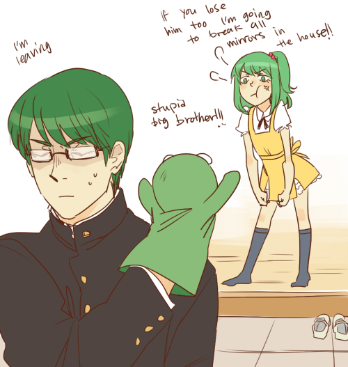 i really love the idea of kise and midorima having sisters midorima probably takes all the stuffed animals for his lucky items from his little sister