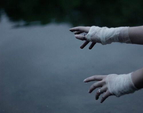 lake pale bandages goth gothic dark hands