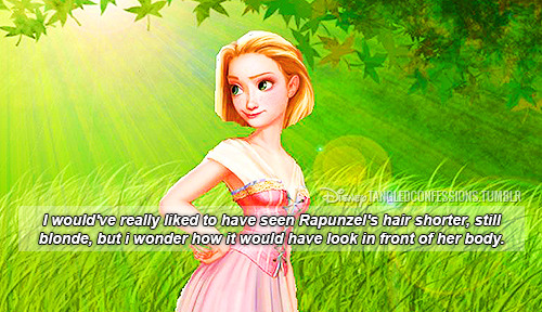 """I would've really liked to have seen Rapunzel's hair shorter, still blonde, but i wonder how it would have look in front of her body."""