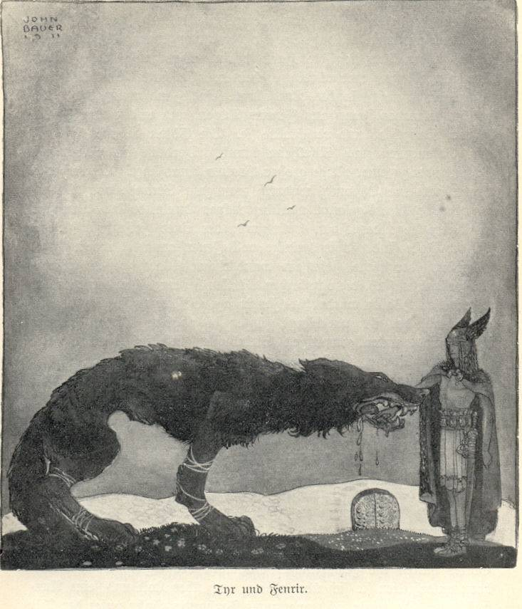 "John Bauer - Tyr and Fenrir    -1911 In order to bind Fenrir until the end of the world, Fenrir had to place his hand in the wolf""s gap.   Heroically he lost that hand."