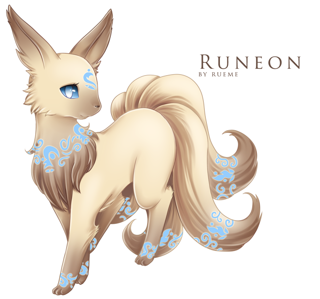 fantasticfakemon:  Eevee —> Runeon Light Evolves from Eevee when leveled up while holding a a specific rune, which then becomes the rune on Runeon's forehead. Source. Artist: Rueme