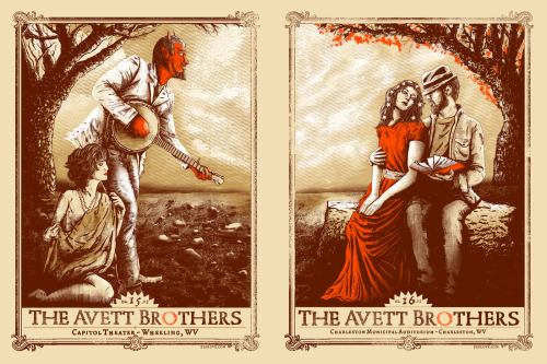 Here are the two gigposters I did for The Avett Brothers Feb. 15th & 16th dates. Each print was hand screenprinted by me at Commonwealth Press here in Pittsburgh.