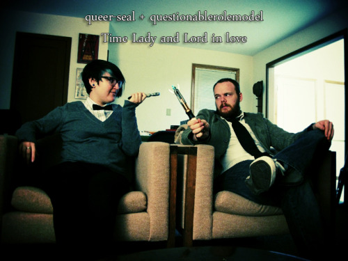 queer-seal:  Joshua and I are super cheeseballs AND Whovians, so of course I'm submitting this to the official Doctor Who Tumblr so that we can be a part of their giant fan collage.