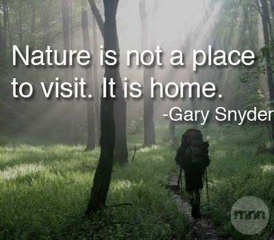 emerycatt:  Actually, nature IS a place to visit. Because if we settle there nature ceases being nature and is now 'man-made' nature. As we consume nature, we destroy the earth.
