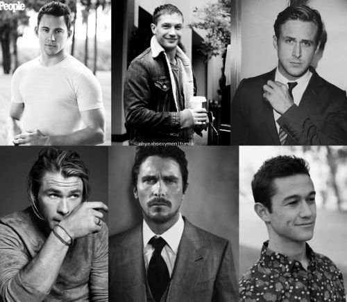 Sexiest Men of 2012 ►  Part 1:     Channing Tatum            Tom Hardy     Ryan Gosling     Chris Hemsworth     Christian Bale     Joseph Gordon Levitt