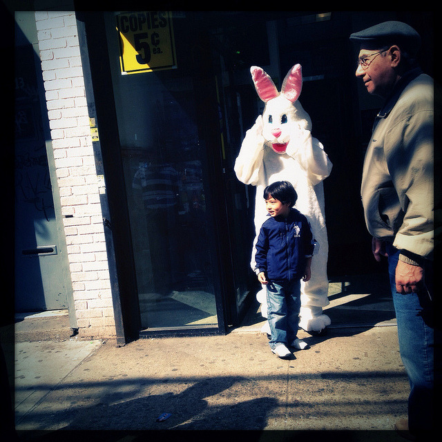 easter bunny on roosevelt avenue, jackson heights. on Flickr.The Easter Bunny was all over Jackson Heights this weekend - here he is on Roosevelt Avenue.