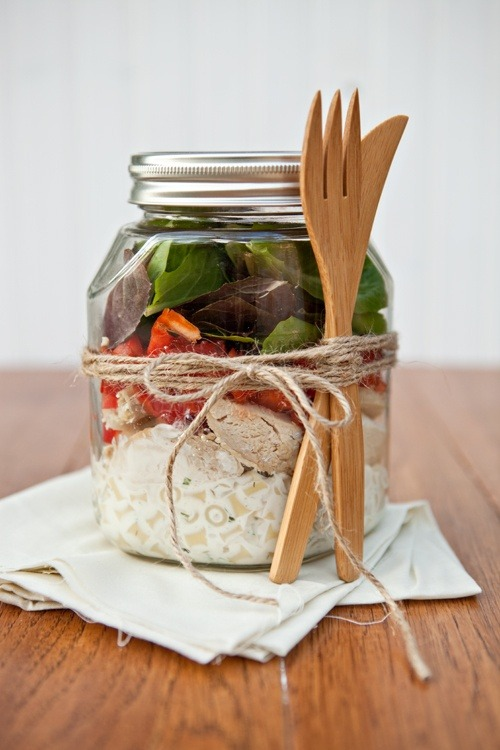 Ranch chicken salad in a jar. Click photo for recipe.