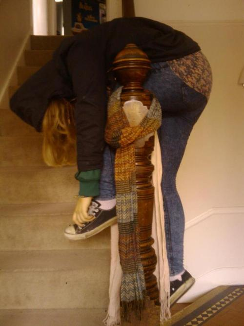 this is what happens when my friends don't let me down the stairs…