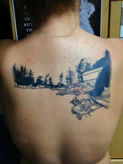 fuckyeahtattoos:  A landscape of the bay where my family has vacationed for a hundred years. Drawn by my brother, Sam Newell. Tattoo done by Lisa Orth of Alleged Tattoo in Seattle, Washington.  - Audrey Newell