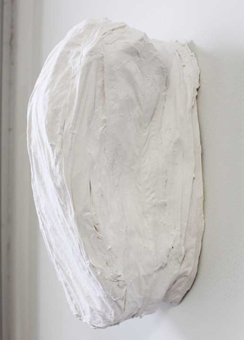 Janine Polak, Shoulder Touch, 2013, Plaster, silk, 14 x 7.5 x 7.5 in. See her show by the same name…now up at Sardine in Bushwick.